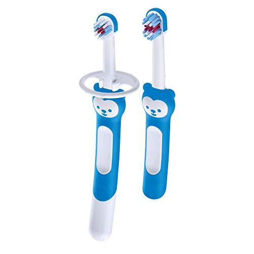 Mam Learn to Brush Set Zahnbürste für Kinder mit langem Griff, Zahnbürste zur Mundhygiene in Autonomie, weiche Zahnbürsten für 5 + Monate, Hellblau - 60 g