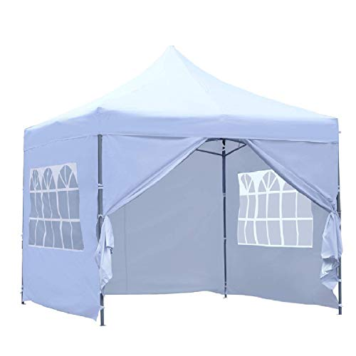 GDY 10x10 Ft Outdoor Pop Up Canopy Tent Commercial Portable Instant Folding Shelter Gazebos Blue Waterproof Canopies with Carrying Bag (White with 4 Sidewalls)