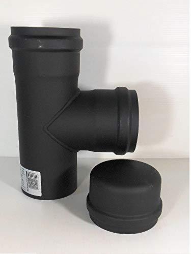 Raccordo a T tubo scarico fumi Diametro 80 per stufa a pellet canna fumaria