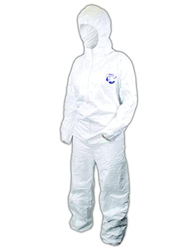 DuPont Tyvek TY127S Disposable Coverall with Hood, Elastic Cuff, White, Large (Pack of 25)