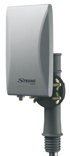 STRONG SRT ANT45 Außenantenne [aktive Antenne, DVB-T2, DVB-T, eingebauter FM-Signalfilter und LTE-Filter, UV resistent und wetterfestes Gehäuse, multifunktionale Aufhängung für Wandbefestigung, grau