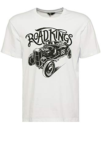King Kerosin Herren Shirt Mit Retro-Druck Road Kings Rundhals Kurzarm Print-Shirt Regular Fit Bedruckt Abgesteppte Kante Road Kings