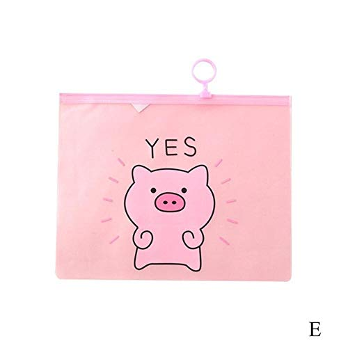 HJCWL 3 stuks PVC Document Kawaii tas Cartoon varken bestand map schrijfwaren houder organisator ring bestand tas pen papier abonnement tassen