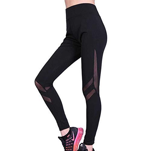 Femmes Plus La Taille De Maille Patchwork Push Up Yoga Pantalon Sport Wear Fitness Taille Haute Serrée Course de Gym Vêtements D'Entraînement Piste Pantalon - Noir - XXL