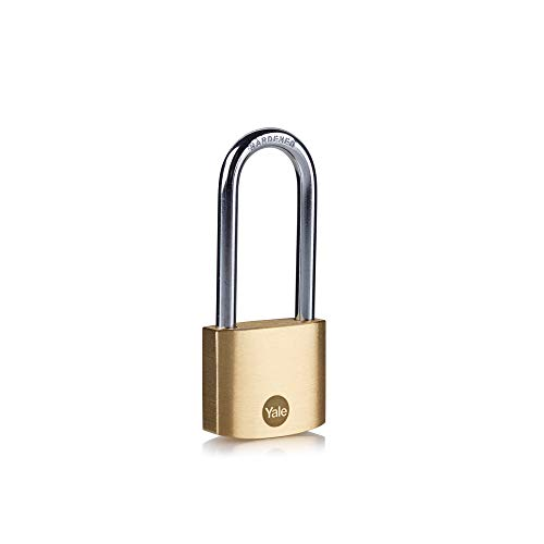 Yale Y110B/40/152/1 - Brass Long Shackle Padlock (40 mm) - High Quality Indoor Lock for Ladders, Shutter Doors, Tools - 3 Keys - Standard Security