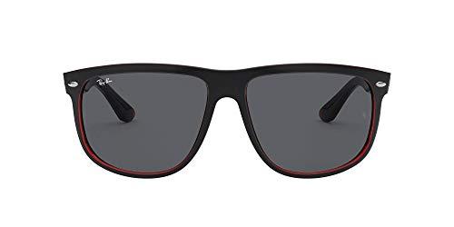 Ray-Ban Unisex Highstreet Sonnenbrille, Mehrfarbig (Gestell: Vorderseite matt schwarz, Rückseite rot transparent Glas: dunkelgrau 617187), Large (Herstellergröße: 56)