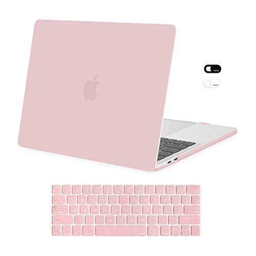 MOSISO Compatible with MacBook Pro 13 inch Case 2016-2020 Release A2338 M1 A2289 A2251 A2159 A1989 A1706 A1708, Plastic Hard Shell Case & Keyboard Cover Skin & Webcam Cover, Rose Quartz
