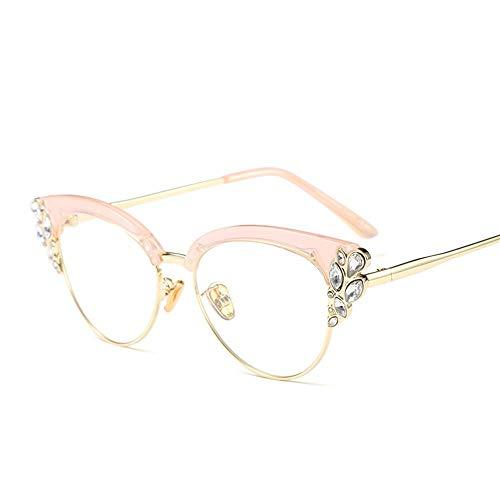 LINLINSHOP 1 PCS Frauen Elegance Diamond Gläser, optische Raum-Objektiv-Brillen, Qualitäts-Sonnenbrille (Color : Pink)
