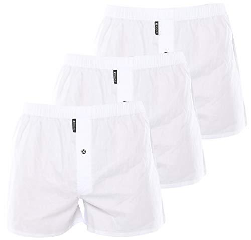 Rooxs Herren Boxershorts (3er Pack) Klassischer Schnitt, Weite Männer Unterhosen aus 100% Baumwolle (Mit Eingriff), Weiß, S