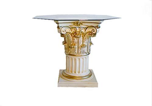 Antikes Wohndesign Achteckiger Esstisch Glastisch Esszimmertisch Säulentisch Barocktisch