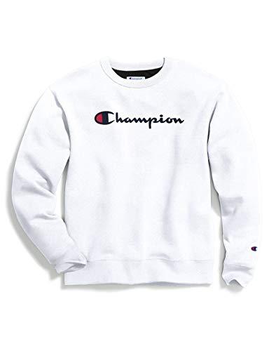 Champion Herren Powerblend Graphic Crew Sweatshirt, White-y06794, X-Small
