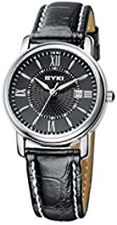 EYKI Classic Lover's Watch Table Quartz Luminous Roman Scale Leather Watchband EET8623 Women Female Black