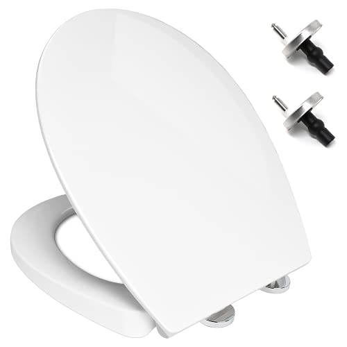 Soft Close Quick Release Toilet Seat, White UF Anti-Bacterial Material (SMART LOOK) WC Loo Seat with Oval Shape Lid - Dual Fixing Stainless Hinges - By MASS DYNAMIC
