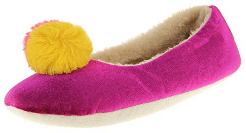 Dunlop Mujer Zapatillas De Pom Pom Cálido Confort Morado/Mostaza EU 38-39