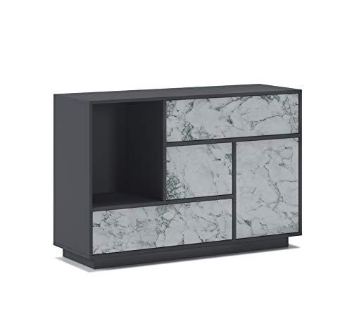 Home Innovation Buffet, Lounge-Esszimmer-Sideboard, Zusatzmöbel Buffet Marble 1 Tür, 3 Schubladen. Strukturfarbe Grafit GRAU, Tür und Schubladenfarbe MATT Weiss MARMOR. Maße: 120x40x80cm