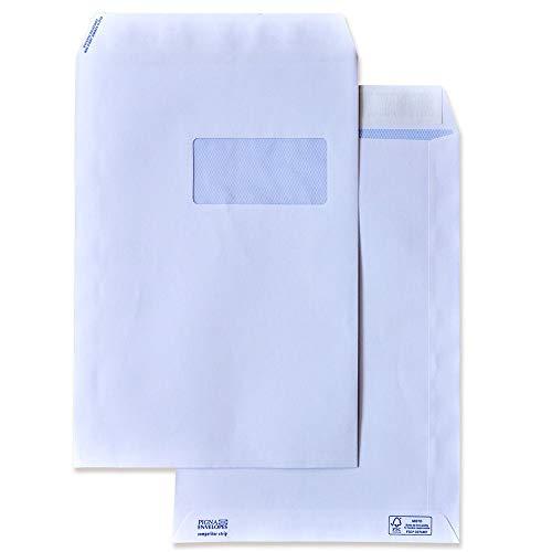 Pigna Competitor S0054393 500 Buste a Sacco Piatto Strip, F.To 229 x 324 in Carta Uso Mano Fsc 100 g, con Finestra 55 x 110