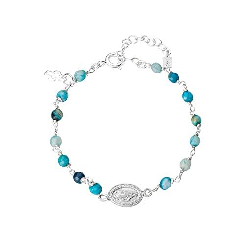 Pulsera medalla virgen Milagrosa, rosario de piedras naturales color azul, ágatas, con cruz de plata 925 ajustable con cadena extensible, regalo mujer, niña, entregado en caja y envoltorio de regalo