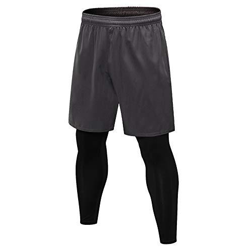 Medias de compresión para hombre para correr, transpirables, de secado rápido, ajustadas para hombre, poliéster, gris, Small