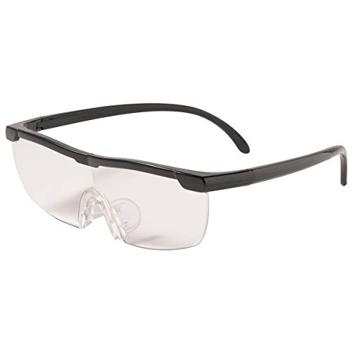 MIDI-ミディ メガネ型 ルーペ (拡大倍率 1.6倍) 専用 ハードケース セット 眼鏡の上からかけて 両手が使える 拡大鏡 ブラック (lp001c1)