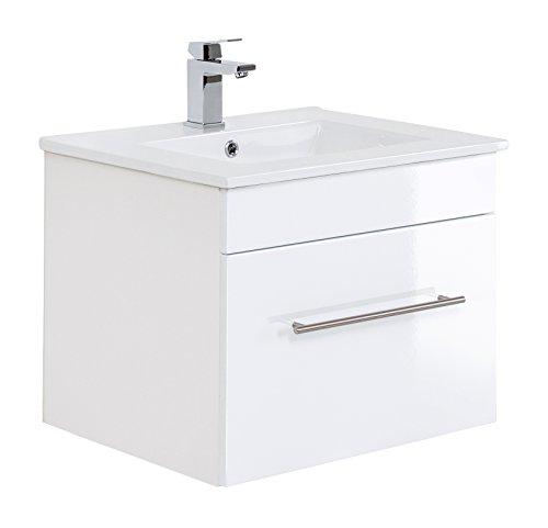 Posseik Badmöbelserie VIVA 60 Waschplatz, Weiß Hochglanz + Weiß, Waschtisch 61,5cm breit