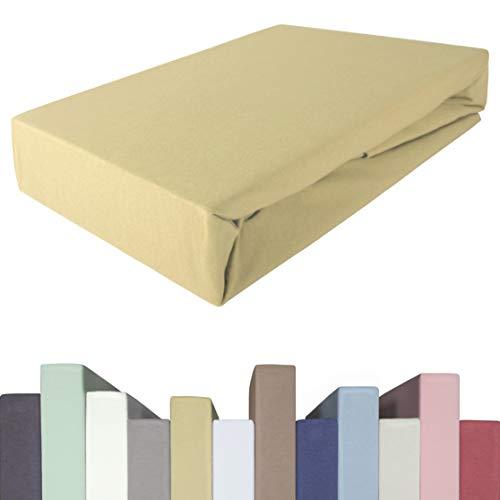 Edda Lux - Lenzuolo con angoli elasticizzati per materassi alti fino a 40 cm | cotone m. 5% elastan | Pesante 190 g/m² | 90 x 200 | 100 x 200 | 100 x 220 cm | Lenzuolo in jersey