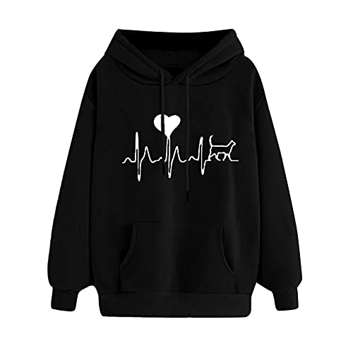 Uqiangy Womens Classic Hooded Sweatshirt Cute Print Hoodie Autumn Winter Casual Sport Pullover Tops With Pocket,M-XXXL (D-Black, 18)