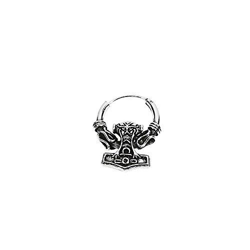 NKlaus Einzel 925 STERLING SILBER Keltische Bali Ohrring 16mm Creole Thors Hammer 7065