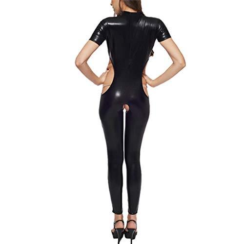 SSScok Sexy Lingerie en Cuir sans Manches Backless Wetlook Lingerie Lingerie Clubwear vêtements de Nuit