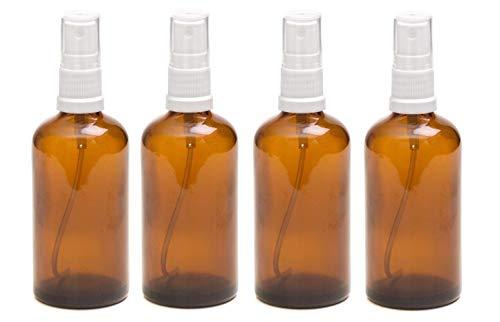 Pack de 4 botellas con atomizador blanco - Cristal ámbar - 100 ml Uso para aceites esenciales / aromaterapia.