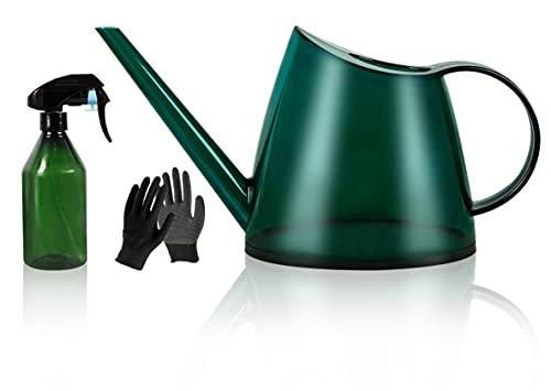 Ouddy Watering Can, Long Spout Watering Can for Indoor Plants, Succulents and Flowers, Plant Watering Can with 300ML Mist Spray Bottle and Work Gloves, Modern Style Watering Pot (1.4L, Green)