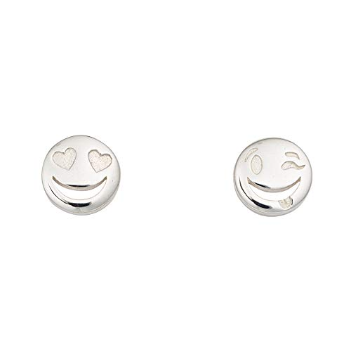 Lily Charmed - 925 Sterling Silver Emoji Face Stud Earrings, Mismatched studs