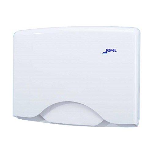Jofel AM21000 Dispensador Papel Cubreasientos WC, ABS, para 125 Papeles, Blanco