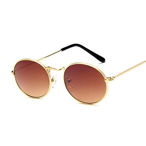 U/N Gafas de Sol de Espejo ovaladas pequeñas para Mujer, Gafas de Lujo Rosas, Gafas de Sol Negras de aleación para Mujer-4