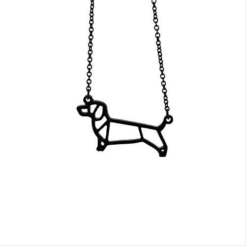 NC190 Collar de Perro Salchicha de Origami joyería geométrica Collar con Colgante de Perro Salchicha joyería de Perro Mascota para Mujer