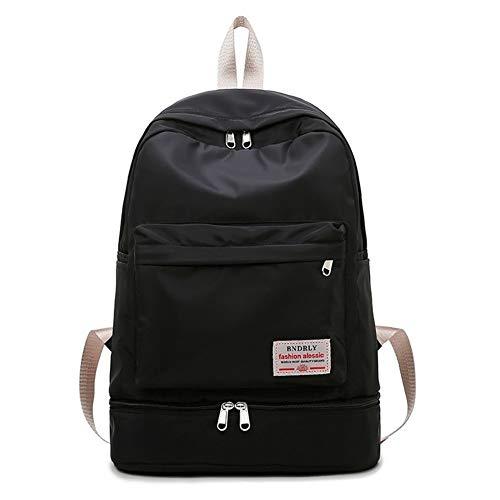 QXYOGO Mochila Escolar Ocio al Aire Libre Mochila Mujer Impermeable Bolsa de Fitness húmedo y seco de separación de Viajes Ropa Zapatos Accesorios Organizador Bolsa 1 (Color : Black)