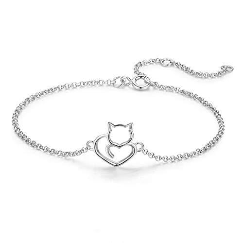 lonfenner Armbanduhr,925 Sterling Silber Katze Und Herz Kette Verstellbar Armbänder Armreifen Für Frauen Silber Schmuck Geschenk