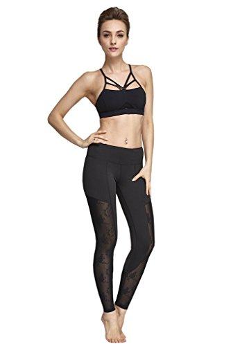 Lotus Instyle Damen Yoga Leggings Lange Strumpfhose Sport Fitness Hose Black1-L