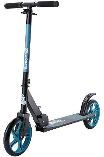 BLUE GORILLAZ Klapp Kinder Roller ab 8 Jahre, 205mm Alu Kick Scooter Faltbar, Höhenverstellbarer Lenker, Schwarz