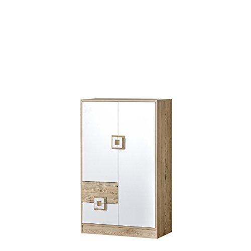 Mirjan24 Kommode Nicola NA07 mit 2 Schubladen und 2 Türen, Griffe Farbauswahl, Sideboard, Highboard, Mehrzweckschrank für Jugendzimmer (Eiche Hell/Weiß + Eiche Hell)