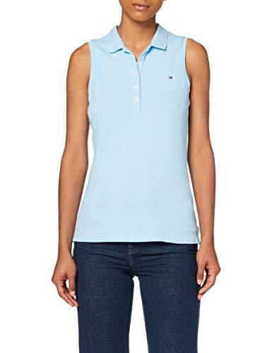 Tommy Hilfiger Damen No Sleeve Slim Polo Poloshirt, Blau (Sail Blue Cyt), 34 (Herstellergröße: Small)