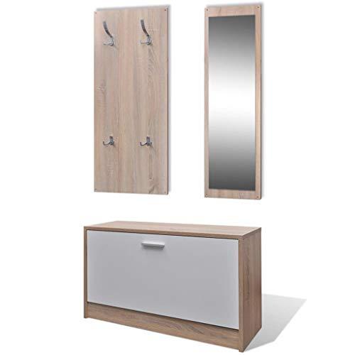 vidaXL Garderoben Set Flur 3-in-1 Eiche Schuhschrank Spiegel Garderobenpaneel