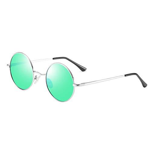 Gafas de sol retro Lennon, estilo vintage, polarizadas, con montura de metal, para hombre y mujer Lente verde + marco plateado M
