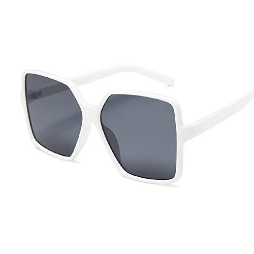 Gafas de Sol Mujer 2 Piezas de Lujo Gafas de Sol Mujeres diseñador Retro Marco Grande Sol Gafas Mujer Vintage Degradado Masculino Gran tamaño (Lenses Color : White Gray)