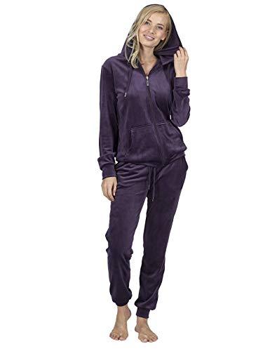 RAIKOU Damen Hausanzug Trainingsanzug Velours Nicki Freizeitanzug Jogginganzug Schlafanzug Kapuzenpullover mit Reißverschluss Hose mit Kordelzug und Taschen (Dunkel Lila,44/46)