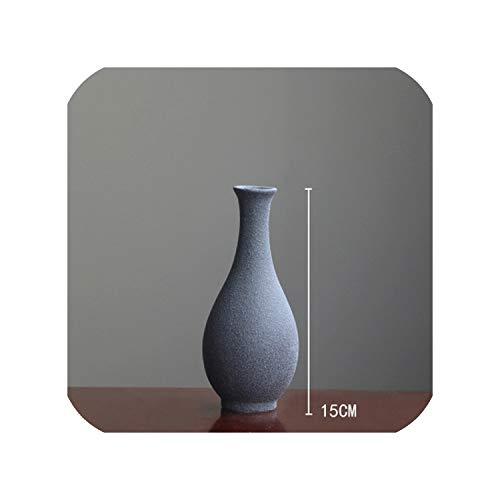 FairyLi Vaas decoratie huis Moderne grind keramische vazen Tafelblad keramische vaas woondecoratie accessoires Blauw grijs zwart