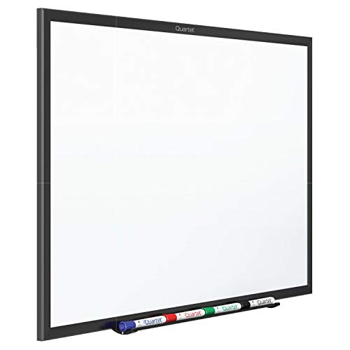 Quartet Whiteboard, Non-Magnetic Dry Erase White Board, 8' x 4', Total Erase, Black Aluminum Frame (S538B)