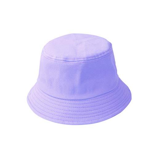 Karrychen Sombrero de Cubo Plegable de Verano para niños y Adultos Coreanos Color sólido Hip Hop de ala Ancha Playa Protección UV Tapa Redonda Protector Solar Gorra de Pescador - Púrpura # Niño