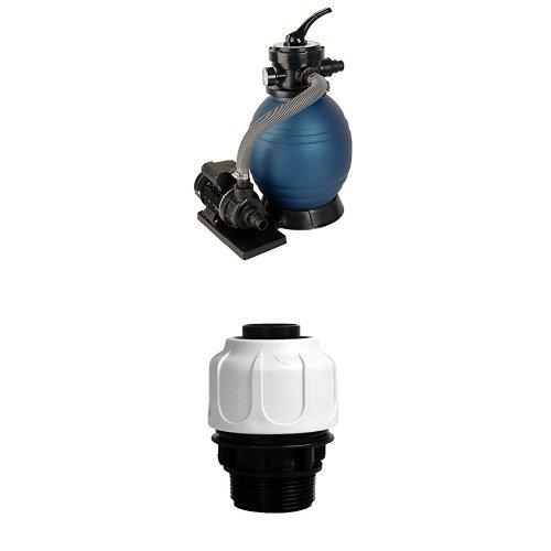 T.I.P. Schwimmbad Filter Set Sandfilteranlage SPF 180 + Schlauchanschluss 1 1/2 Zoll AG für 32 mm Schläuche