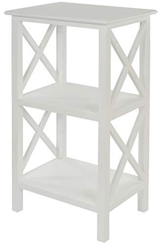 elbmöbel Kleines Regal Beistelltisch 3 Ablagen Böden weiß aus Holz Landhaus shabby chic 81cm hoch