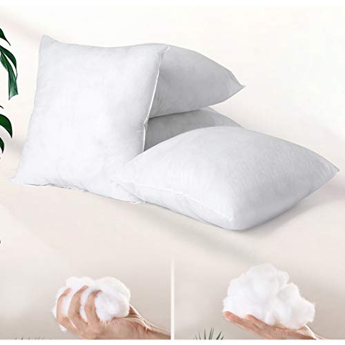 Hivexagon Soft fluffy White Cushion Insert Inner for Cushion Covers in Bed Sofa Car Outdoor pillow Inner 17x17inch Polyester Cotton Set of 4 pillow inserts